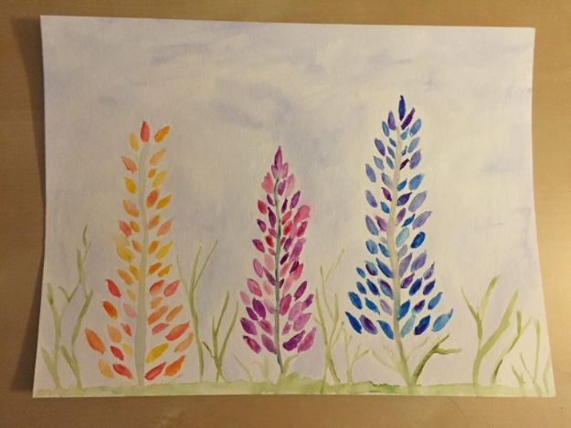 How To Paint Flowers - Watercolors Lupine Flowers - Step by Step Tutorials for Painting Roses, Daisies, Whimsical and Abstract Floral Techniques - Easy Acrylic Flower Tutorial for Beginners - Paint on Wood, Canvas, On Wasll, Rocks, Fabric and Paper - Step by Step Instructions and How To #painting #diy