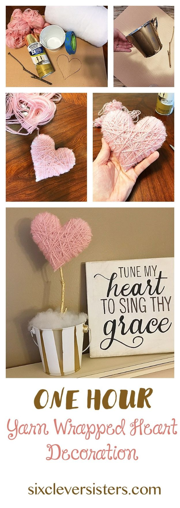 Crafts To Make and Sell - Yarn Wrapped Heart - 75 MORE Easy DIY Ideas for Cheap Things To Sell on Etsy, Online and for Craft Fairs. Make Money with crafts to sell ideas #crafts