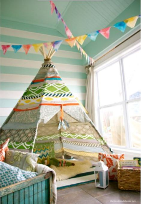 No Sew DIY Home Decor Ideas - No-Sew Teepee - Easy No Sew Projects to Make for Bedroom,. Kitchen, Bath - Crafts to Make and Sell, Blankets, No Sewing Project Ideas #nosew #diydecor #diygifts #homedecor
