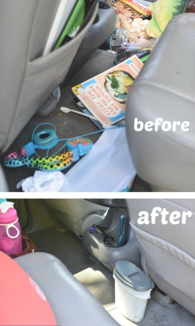Dollar Store Organizing Ideas - $1 Car Trash Can - Easy Organization Projects from Dollar Tree and Dollar Stores - Quick Closet Makeovers, Pantry Storage, Shoe Box Projects, Tension Rods, Car and Household Cleaning - Hacks and Tips for Organizing on a Budget - Cheap Idea for Reducing Clutter around the House, in the Kitchen and Bedroom http://diyjoy.com/dollar-store-organizing-ideas