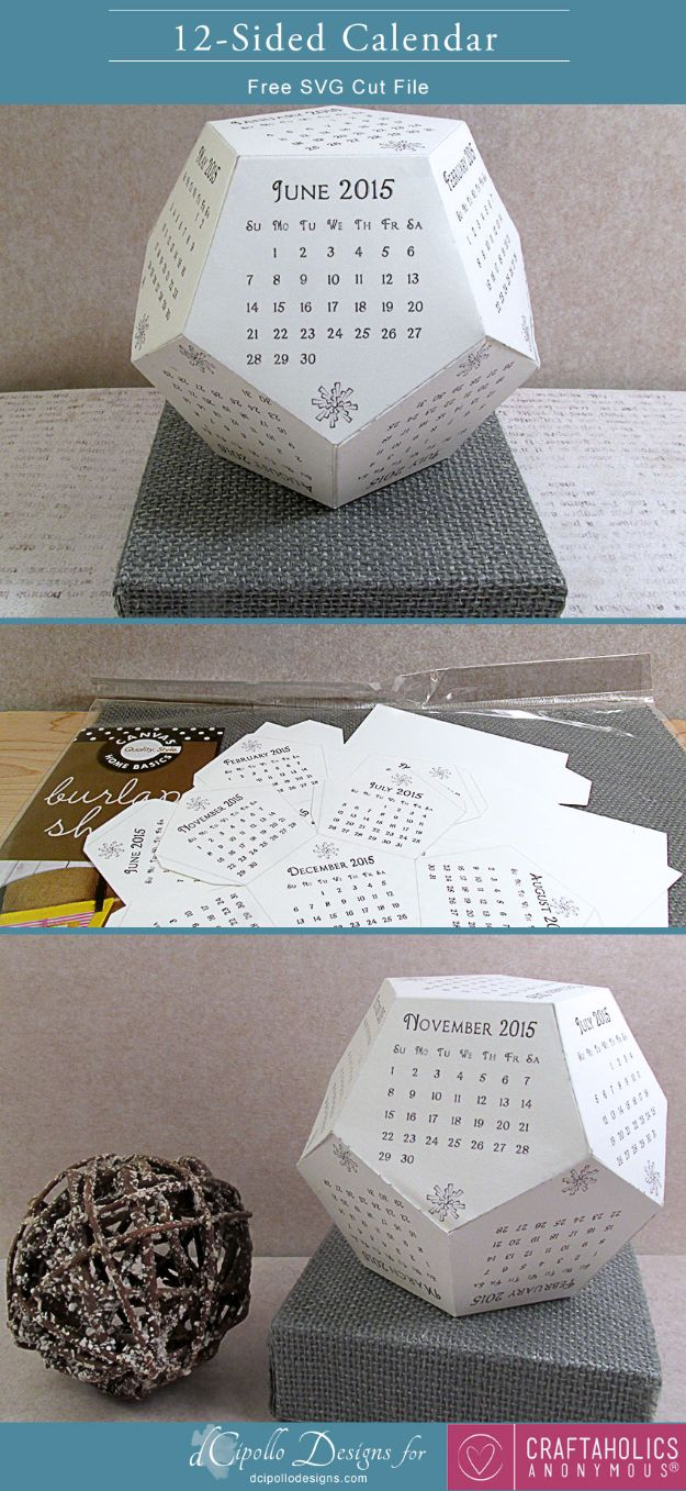DIY Calendars - 12 Sided Calendar - Homemade Calender Ideas That Make Great Cheap Gifts for Christmas - Desk, Wall and Glass Dry Erase Organizing Calendar Projects With Step by Step Tutorials - Paint, Stamp, Magnetic, Family Planner and Organizer #diycalendar #diyideas #crafts #calendars #organizing #diygifts #calendars #diyideas