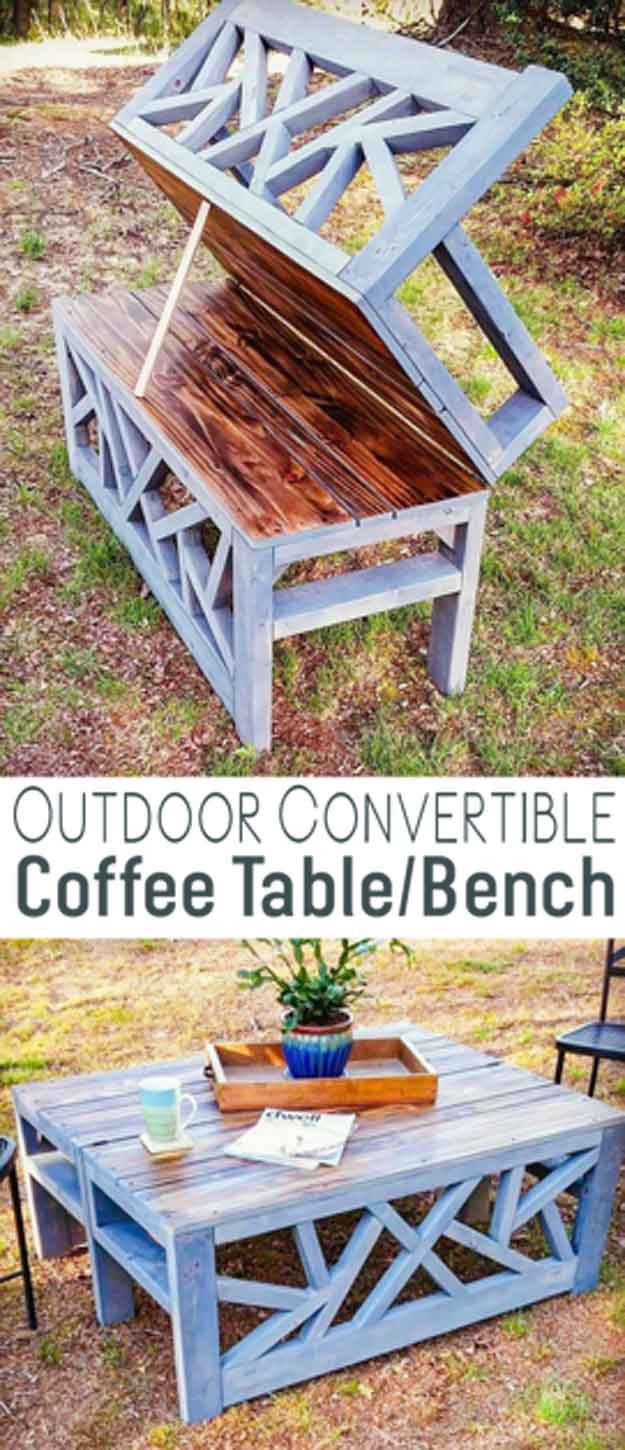 DIY Coffee Tables - Outdoor Convertible Bench Coffee Table - Easy Do It Yourself Furniture Ideas for The Living Room Table - Cool Projects for Making a Coffee Table With Crates, Boxes, Stone, Industrial Pipe, Tile, Pallets, Old Doors, Windows and Repurposed Wood Planks - Rustic Farmhouse Home Decor, Modern Decorating Ideas, Simply Shabby Chic and All White Looks for Minimalist Interiors http://diyjoy.com/diy-coffee-table-ideas