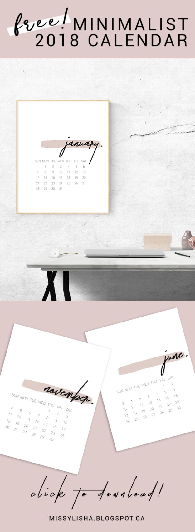 DIY Calendars - 2018 Minimal Calendar - Homemade Calender Ideas That Make Great Cheap Gifts for Christmas - Desk, Wall and Glass Dry Erase Organizing Calendar Projects With Step by Step Tutorials - Paint, Stamp, Magnetic, Family Planner and Organizer #diycalendar #diyideas #crafts #calendars #organizing #diygifts #calendars #diyideas