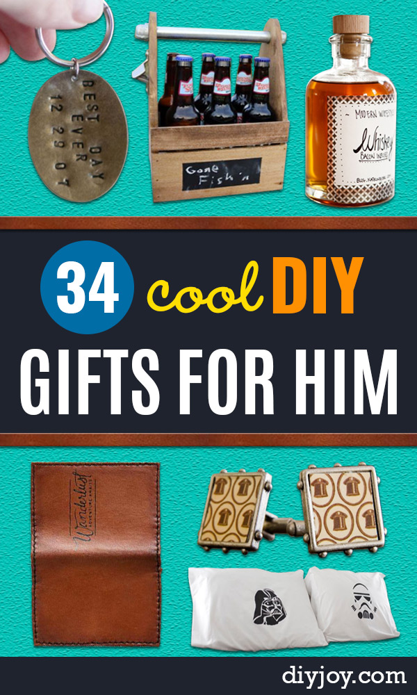DIY Gifts for Him - Homemade Gift Ideas for Guys - DYI Christmas Gift for Dad, Boyfriend, Husband Brother - Easy and Cheap Handmade Presents Birthday