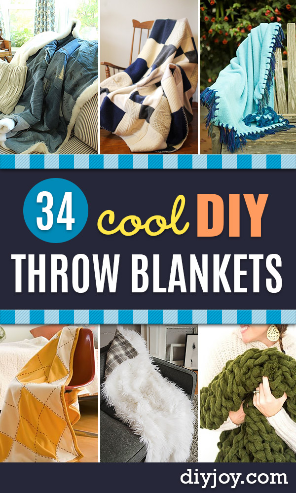 DIY Throw Blankets - How to Make Easy Throws and Blanket - Fleece Fabrics, No Sew Tutorial, Crochet, Boho, Fur, Cotton, Flannel Ideas #diyideas #diydecor #diy