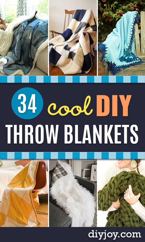 DIY Throw Blankets - How to Make Easy Throws and Blanket - Fleece Fabrics, No Sew Tutorial, Crochet, Boho, Fur, Cotton, Flannel Ideas #diyideas #diydecor #diy