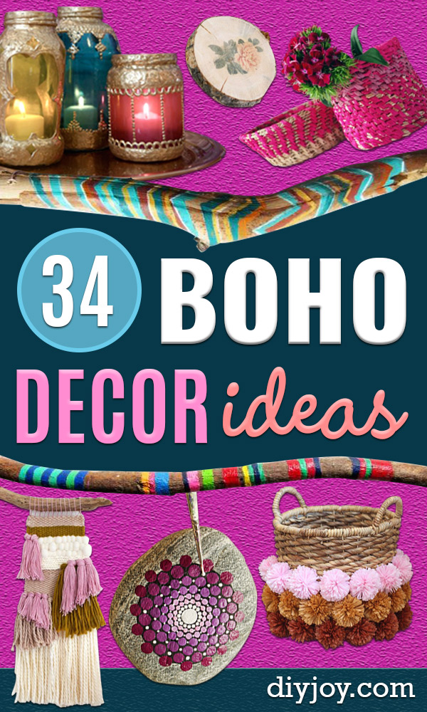 DIY Boho Decor Ideas - DYI Bedroom Ideas - Cheap Hippie Crafts and Bohemian Wall Art - Easy Upcycling Projects for Living Room, Bathroom, Kitchen #boho #diy #diydecor