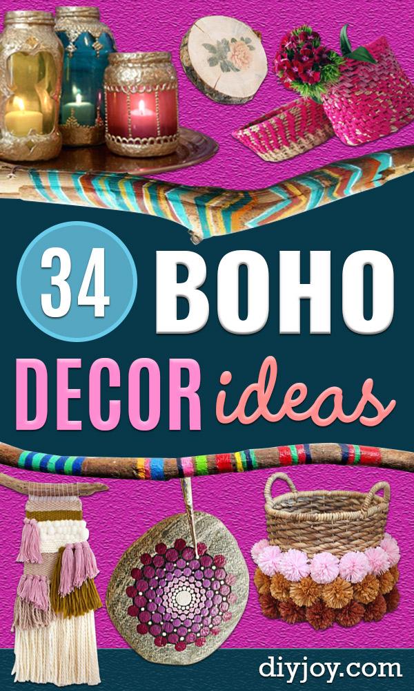 DIY Boho Decor Ideas - DYI Bedroom Ideas - Cheap Hippie Crafts and Bohemian Wall Art - Easy Upcycling Projects for Living Room, Bathroom, Kitchen #boho #diy #diydecor