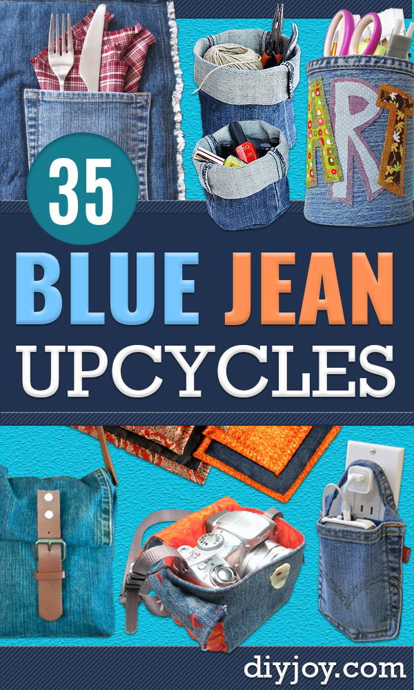 DIY Blue Jean Crafts Upcycles - Upcycled Jeans To Toy Storage - Ways to Make Old Denim Jeans Into DIY Home Decor, Handmade Gifts and Creative Fashion - Transform Old Blue Jeans into Pillows, Rugs, Kitchen and Living Room Decor, Easy Sewing Projects for Beginners