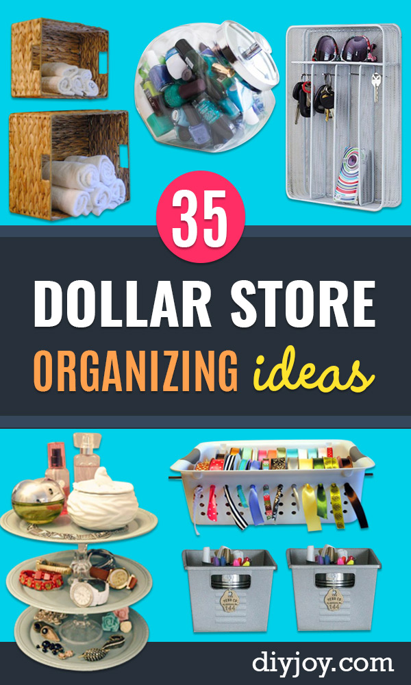Dollar Store Organizing Ideas - Easy Organization Projects from Dollar Tree and Dollar Stores - Quick Closet Makeovers, Pantry Storage, Shoe Box Projects, Tension Rods, Car and Household Cleaning - Hacks and Tips for Organizing on a Budget - Cheap Idea for Reducing Clutter around the House, in the Kitchen and Bedroom http://diyjoy.com/dollar-store-organizing-ideas
