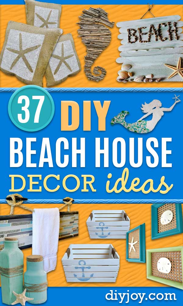 DIY Beach House Decor Ideas- Cool DIY Decor Ideas While On A Budget - Cool Ideas for Decorating Your Beach Home With Shells, Sand and Summer Wall Art - Coastal Crafts and Do It Yourself Projects With A Breezy, Blue, Summery Feel - White Decor and Shiplap, Birchwood Boats, Beachy Sea Glass Art Projects for Living Room, Bedroom and Kitchen
