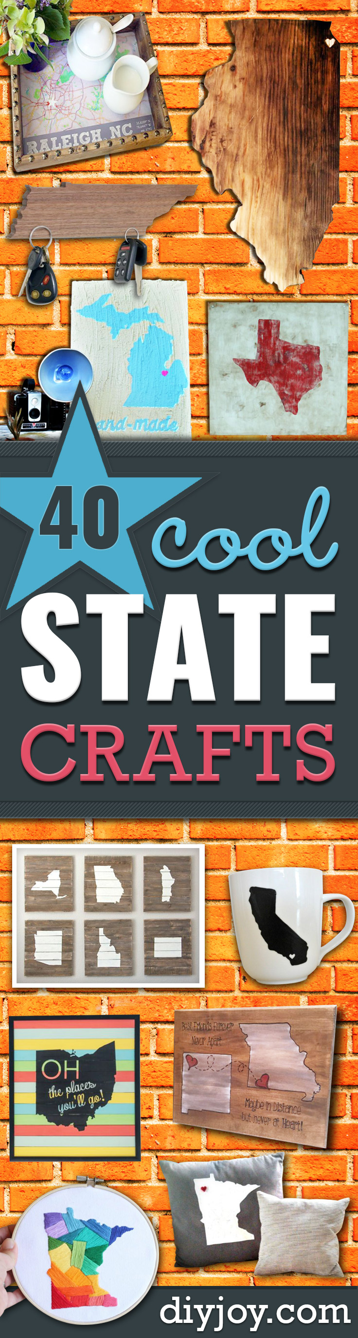 Cool State Crafts - Easy Craft Projects To Show Your Love For Your Home State - Best DIY Ideas Using Maps, String Art Shaped Like States, Quotes, Sayings and Wall Art Ideas, Painted Canvases, Cute Pillows, Fun Gifts and DIY Decor Made Simple - Creative Decorating Ideas for Living Room, Kitchen, Bedroom, Bath and Porch http://diyjoy.com/cool-state-crafts