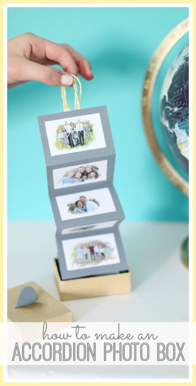 DIY Photo Albums - Accordion Photo Box - Easy DIY Christmas Gifts for Grandparents, Friends, Him or Her, Mom and Dad - Creative Ideas for Making Wall Art and Home Decor With Photos