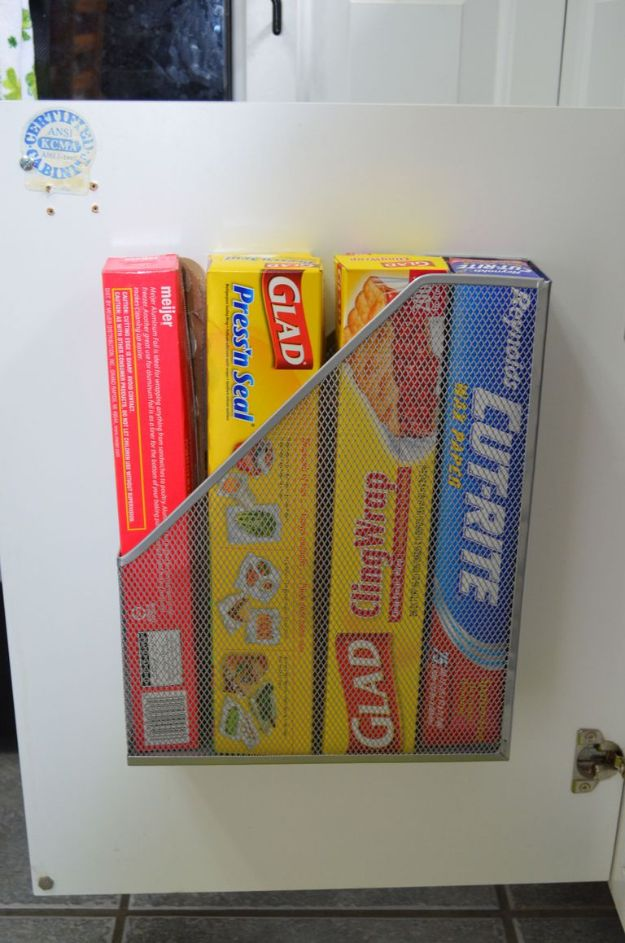 Dollar Store Organizing Ideas - Aluminum Foil and Cling Wrap Holder - Easy Organization Projects from Dollar Tree and Dollar Stores - Quick Closet Makeovers, Pantry Storage, Shoe Box Projects, Tension Rods, Car and Household Cleaning - Hacks and Tips for Organizing on a Budget - Cheap Idea for Reducing Clutter around the House, in the Kitchen and Bedroom http://diyjoy.com/dollar-store-organizing-ideas