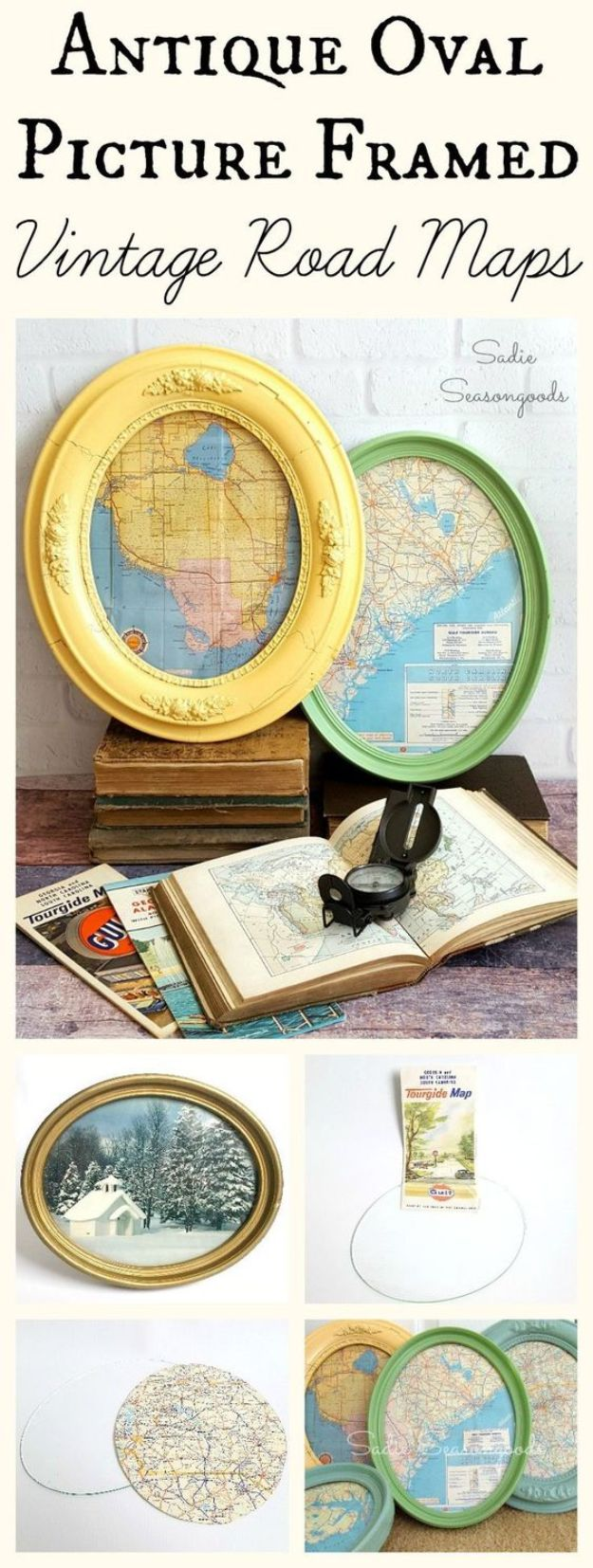 DIY Ideas With Maps - Antique Oval Framed Vintage Road Maps - Easy Crafts, Home Decor, Art and Gifts Your Can Make With A Map - Pinboard, Canvas, Painting, Paper Flowers, Signs Projects