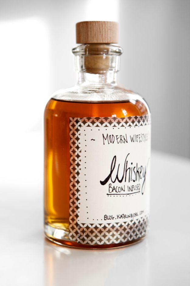 DIY Gifts for Him - Bacon Infused Whiskey - Homemade Gift Ideas for Guys - DYI Christmas Gift for Dad, Boyfriend, Husband Brother - Easy and Cheap Handmade Presents Birthday https://diyjoy.com/diy-gifts-for-him