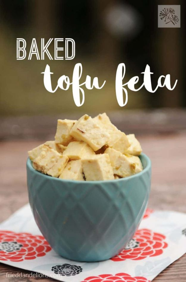 Best Recipes for the Cheese Lover - Baked Tofu Feta - Easy Recipe Ideas With Cheese - Homemade Appetizers, Dips, Dinners, Snacks, Pasta Dishes, Healthy Lunches and Soups Made With Your Favorite Cheeses - Ricotta, Cheddar, Swiss, Parmesan, Goat Chevre, Mozzarella and Feta Ideas - Grilled, Healthy, Vegan and Vegetarian #cheeserecipes #recipes #recipeideas #cheese #cheeserecipe