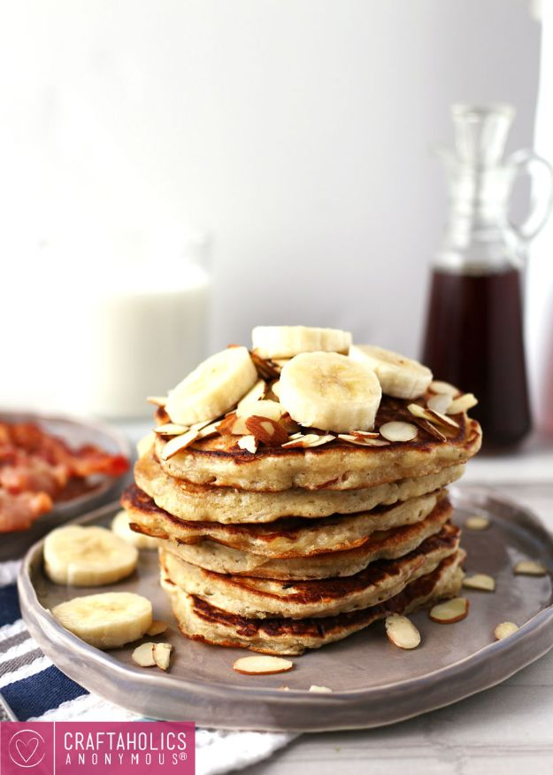 Best Pancake Recipes - Banana Almond Pancakes - Homemade Pancakes With Banana, Berries, Fruit and Maple Syrup - How To Make Pancake Mix at Home - Gluten Free, Low Fat and Healthy Recipes - Breakfast and Brunch Recipe Ideas - Silver Dollar, Buttermilk, Make Ahead and Quick Versions With Strawberries and Blueberries #pancakes #pancakerecipes #recipeideas #breakfast #breakfastrecipes http://diyjoy.com/pancake-recipes