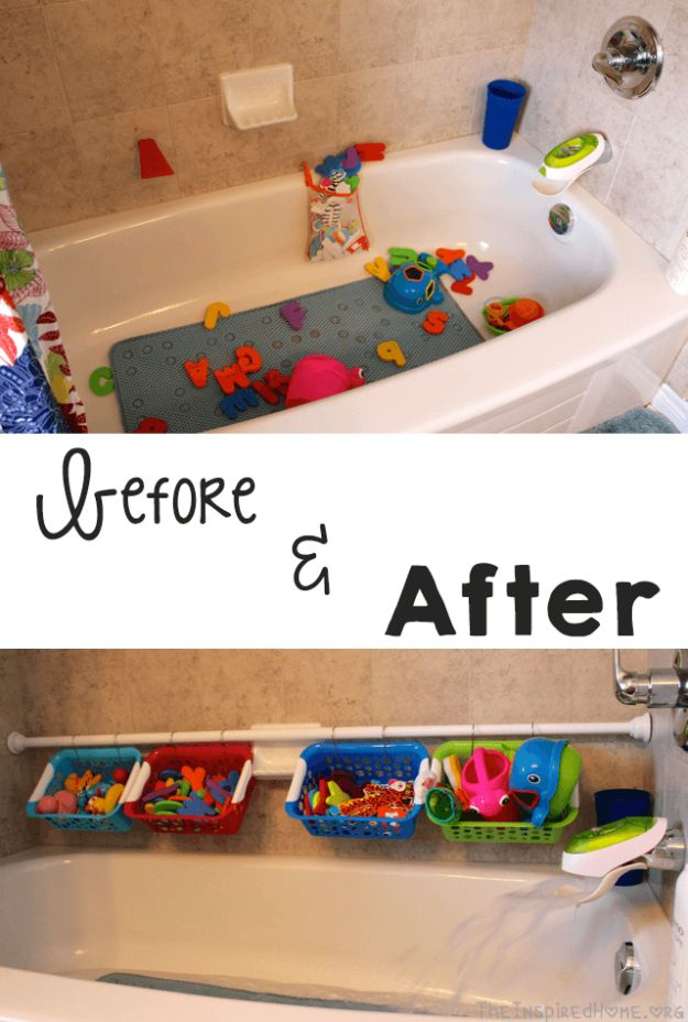 Dollar Store Organizing Ideas - Bath Toy Organization - Easy Organization Projects from Dollar Tree and Dollar Stores - Quick Closet Makeovers, Pantry Storage, Shoe Box Projects, Tension Rods, Car and Household Cleaning - Hacks and Tips for Organizing on a Budget - Cheap Idea for Reducing Clutter around the House, in the Kitchen and Bedroom http://diyjoy.com/dollar-store-organizing-ideas