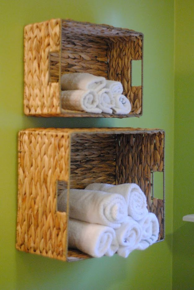 Dollar Store Organizing Ideas - Bathroom Towel Storage - Easy Organization Projects from Dollar Tree and Dollar Stores - Quick Closet Makeovers, Pantry Storage, Shoe Box Projects, Tension Rods, Car and Household Cleaning - Hacks and Tips for Organizing on a Budget - Cheap Idea for Reducing Clutter around the House, in the Kitchen and Bedroom http://diyjoy.com/dollar-store-organizing-ideas