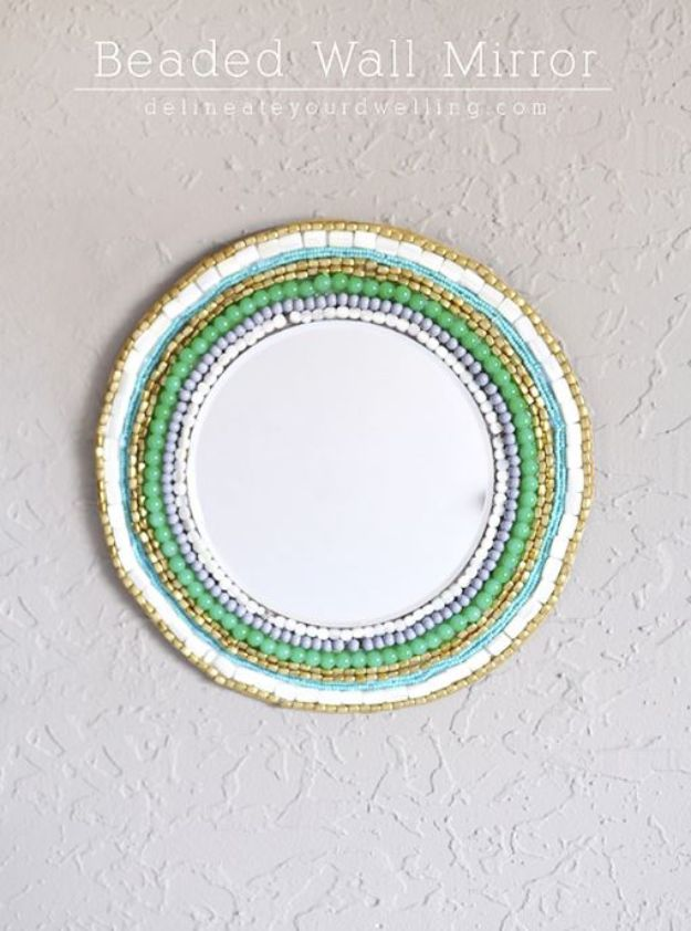DIY Boho Decor Ideas - Beaded Wall Mirror - DIY Bedroom Ideas - Cheap Hippie Crafts and Bohemian Wall Art - Easy Upcycling Projects for Living Room, Bathroom, Kitchen #boho #diy #diydecor