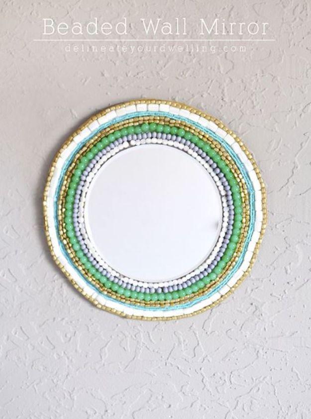 DIY Boho Decor Ideas - Beaded Wall Mirror - DIY Bedroom Ideas - Cheap Hippie Crafts and Bohemian Wall Art - Easy Upcycling Projects for Living Room, Bathroom, Kitchen #boho #diy #diydecor