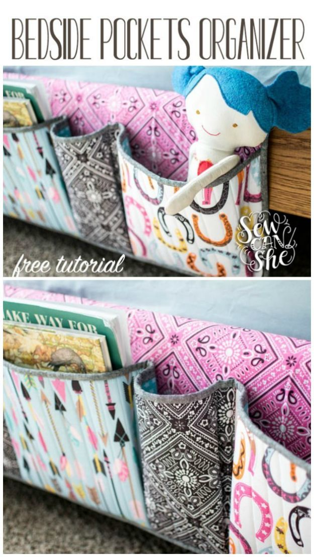 DIY Sewing Projects for the Home - Bedside Pockets - Easy DIY Christmas Gifts and Ideas for Making Kitchen, Bedroom and Bathroom Decor - Free Step by Step Tutorial to Sew