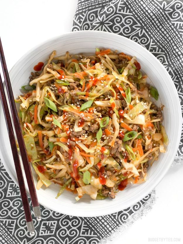 Best Recipes With Ground Beef - Beef and Cabbage Stir Fry - Easy Dinners and Ground Beef Recipe Ideas - Quick Lunch Salads, Casseroles, Tacos, One Skillet Meals - Healthy Crockpot Foods With Hamburger Meat - Mexican Casserole, Instant Pot Carne Molida, Low Carb and Keto Diet - Rice, Pasta, Potatoes and Crescent Rolls #groundbeef #beefrecipes #beedrecipe #dinnerideas #dinnerrecipes http://diyjoy.com/best-recipes-ground-beef