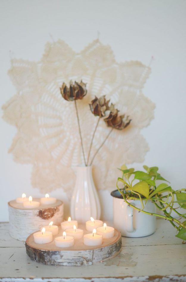 DIY Boho Decor Ideas - Birchwood Tealight Holder - DIY Bedroom Ideas - Cheap Hippie Crafts and Bohemian Wall Art - Easy Upcycling Projects for Living Room, Bathroom, Kitchen #boho #diy #diydecor