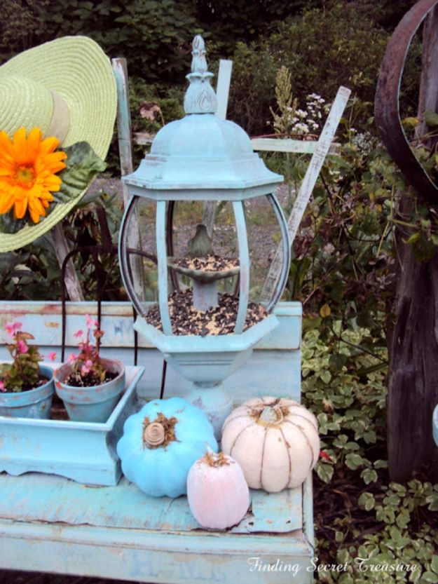 DIY Bird Feeders - Bird Feeder From Old Lighting Fixture - Easy Do It Yourself Homemade Bird Feeder Ideas from Mason Jar, Wooden, Wine Bottle, Milk Jug, Plastic, Dollar Store Supplies - Squirrel Proof, Unique and Creative Tutorials That Make Cool DIY Gifts #diyideas #birds