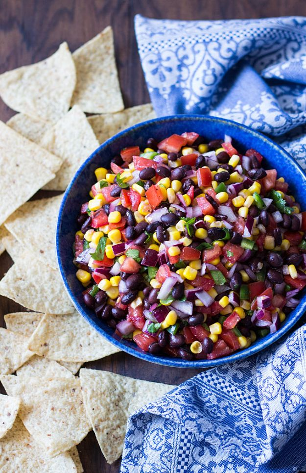 Best Mexican Food Recipes - Black Bean Salsa - Authentic Mexican Foods and Recipe Ideas for Casseroles, Quesadillas, Tacos, Appetizers, Tamales, Enchiladas, Crockpot, Chicken, Beef and Healthy Foods - Desserts and Dessert Ideas Like Churros , Flan amd Sopapillas #recipes #mexicanfood #mexicanrecipes #recipeideas #mexicandishes http://diyjoy.com/mexican-food-recipes
