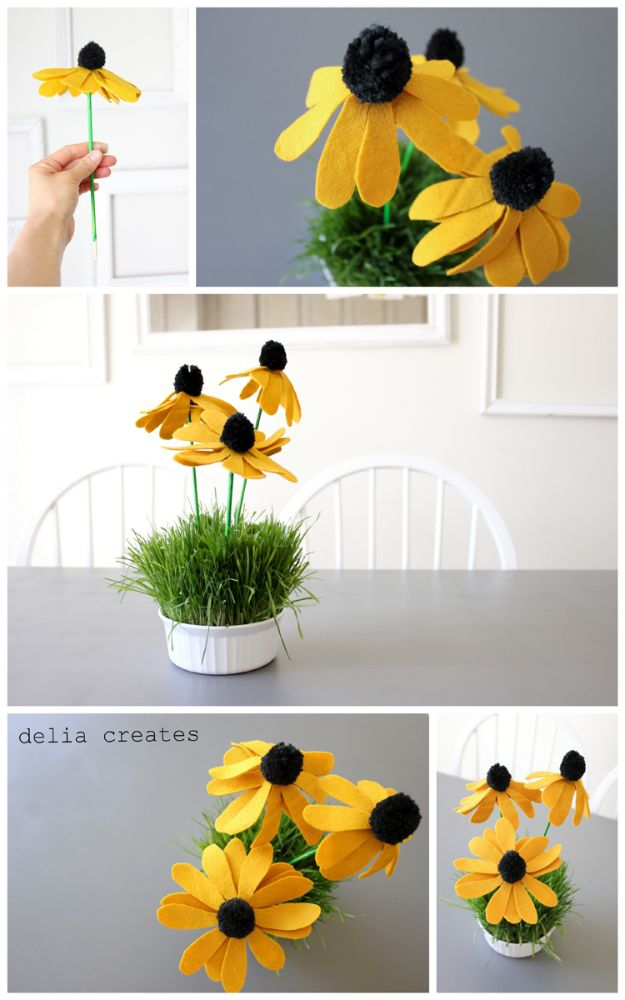 DIY Ideas With Faux Flowers - Black-Eyed Susan Pom Flowers - Paper, Fabric, Silk and Plastic Flower Crafts - Easy Arrangements, Wedding Decorations, Wall, Decorations, Letters, Cheap Home Decor