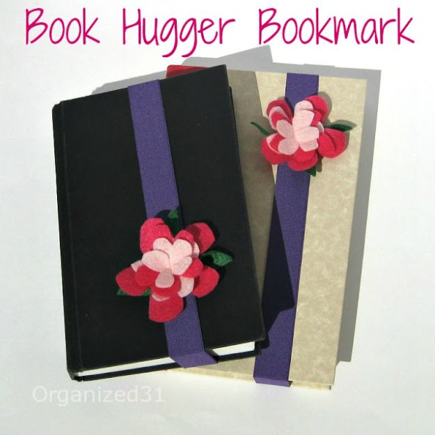 DIY Ideas With Faux Flowers - Book Hugger Bookmark - Paper, Fabric, Silk and Plastic Flower Crafts - Easy Arrangements, Wedding Decorations, Wall, Decorations, Letters, Cheap Home Decor