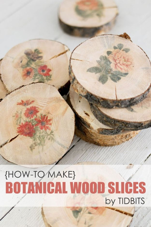 DIY Boho Decor Ideas - Botanical Wood Slices - DIY Bedroom Ideas - Cheap Hippie Crafts and Bohemian Wall Art - Easy Upcycling Projects for Living Room, Bathroom, Kitchen #boho #diy #diydecor