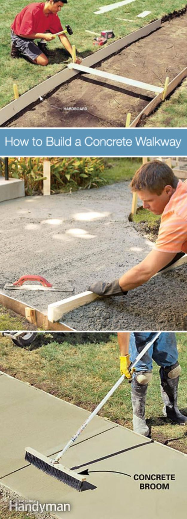 DIY Walkways - Build A Concrete Walkway - Do It Yourself Walkway Ideas for Paths to The Front Door and Backyard - Cheap and Easy Pavers and Concrete Path and Stepping Stones - Wood and Edging, Lights, Backyard and Patio Walks With Gravel, Sand, Dirt and Brick http://diyjoy.com/diy-walkways