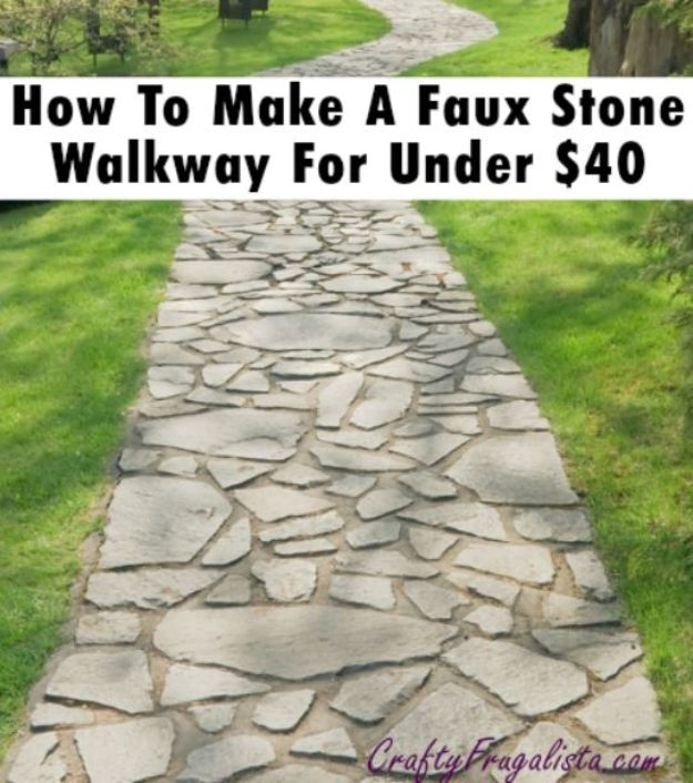 DIY Walkways - Build A Faux Stone Walkway For Under $40 - Do It Yourself Walkway Ideas for Paths to The Front Door and Backyard - Cheap and Easy Pavers and Concrete Path and Stepping Stones - Wood and Edging, Lights, Backyard and Patio Walks With Gravel, Sand, Dirt and Brick #diyideas