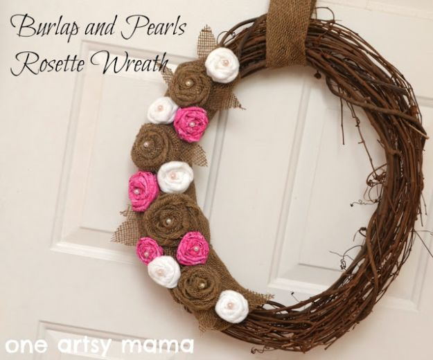 DIY Ideas With Faux Flowers - Burlap and Pearls Rosette Wreath - Paper, Fabric, Silk and Plastic Flower Crafts - Easy Arrangements, Wedding Decorations, Wall, Decorations, Letters, Cheap Home Decor