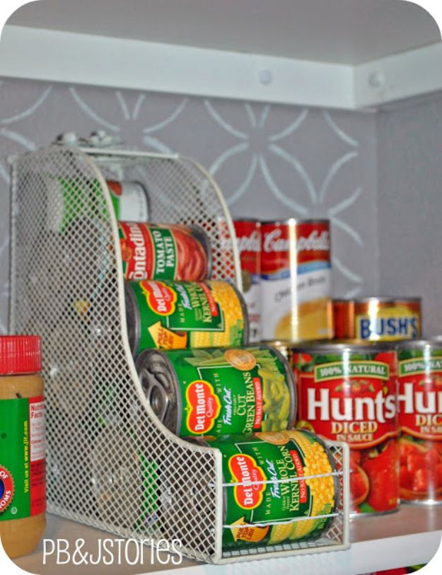 Dollar Store Organizing Ideas - Canned Food Storage Hack - Easy Organization Projects from Dollar Tree and Dollar Stores - Quick Closet Makeovers, Pantry Storage, Shoe Box Projects, Tension Rods, Car and Household Cleaning - Hacks and Tips for Organizing on a Budget - Cheap Idea for Reducing Clutter around the House, in the Kitchen and Bedroom http://diyjoy.com/dollar-store-organizing-ideas