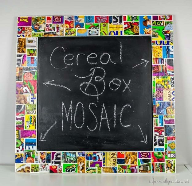 Cool DIY Ideas With Cereal Boxes - Cereal Box Mosaic Frame - Easy Organizing Ideas, Cute Kids Crafts and Creative Ways to Make Things Out of A Cereal Box - Cheap Gifts, DIY School Supplies and Storage Ideas http://diyjoy.com/diy-ideas-cereal-boxes