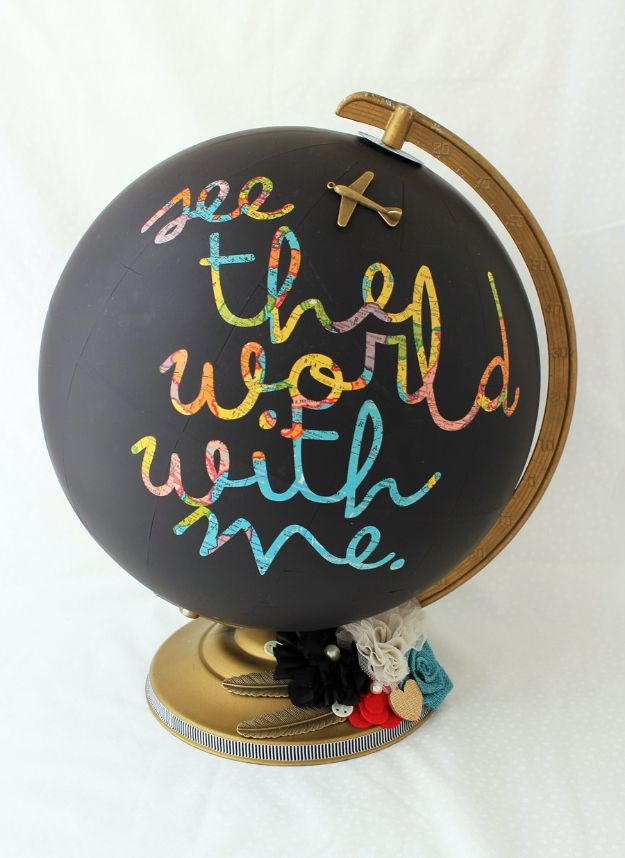 DIY Home Decor Projects for Beginners - Chalkboard Globe - Easy Homemade Decoration for Your House or Apartment - Creative Wall Art, Rugs, Furniture and Accessories for Kitchen - Quick and Cheap Ways to Decorate on A Budget - Farmhouse, Rustic, Modern, Boho and Minimalist Style With Step by Step Tutorials #diy
