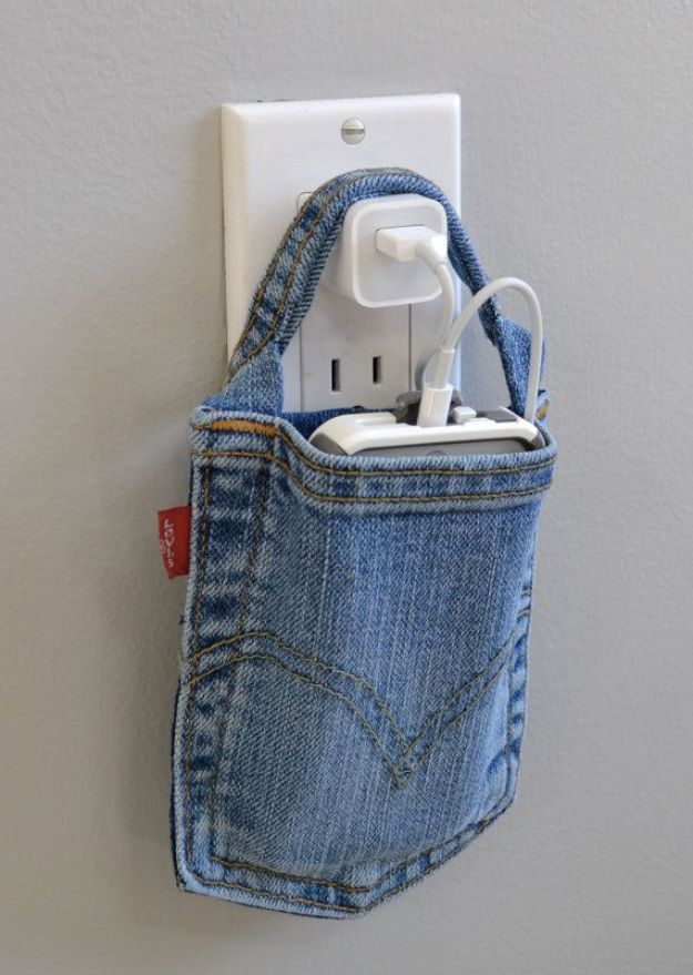 Blue Jean Upcycles - Charging Station - Ways to Make Old Denim Jeans Into DIY Home Decor, Handmade Gifts and Creative Fashion - Transform Old Blue Jeans into Pillows, Rugs, Kitchen and Living Room Decor, Easy Sewing Projects for Beginners #sewing #diy #crafts #upcycle