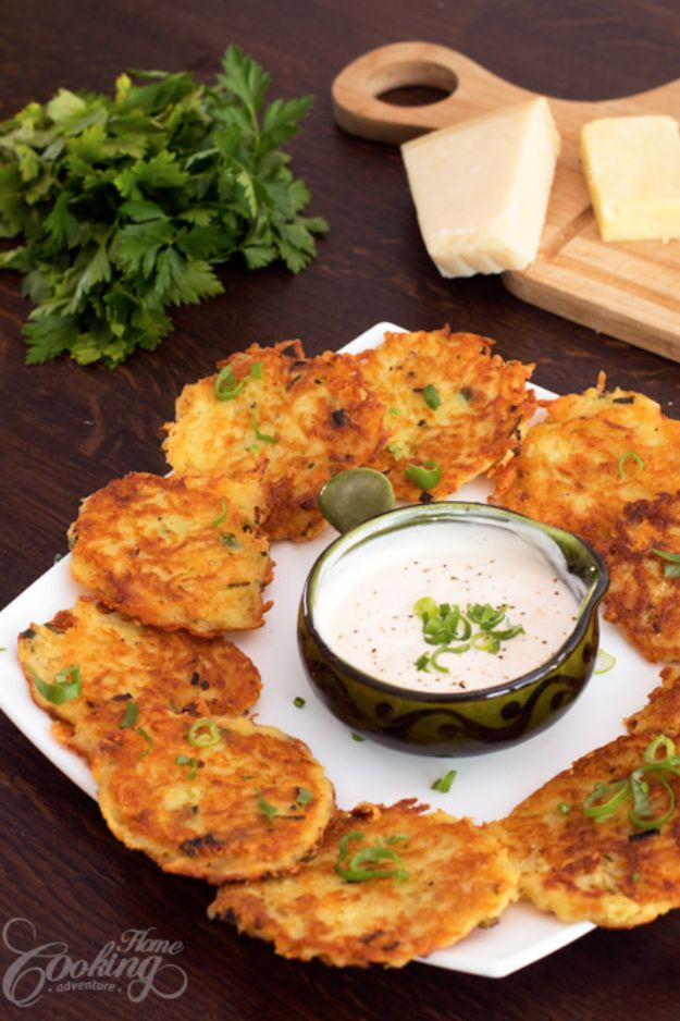 Best Recipes for the Cheese Lover - Cheese Potato Pancakes - Easy Recipe Ideas With Cheese - Homemade Appetizers, Dips, Dinners, Snacks, Pasta Dishes, Healthy Lunches and Soups Made With Your Favorite Cheeses - Ricotta, Cheddar, Swiss, Parmesan, Goat Chevre, Mozzarella and Feta Ideas - Grilled, Healthy, Vegan and Vegetarian #cheeserecipes #recipes #recipeideas #cheese #cheeserecipe http://diyjoy.com/best-recipes-cheese-lover