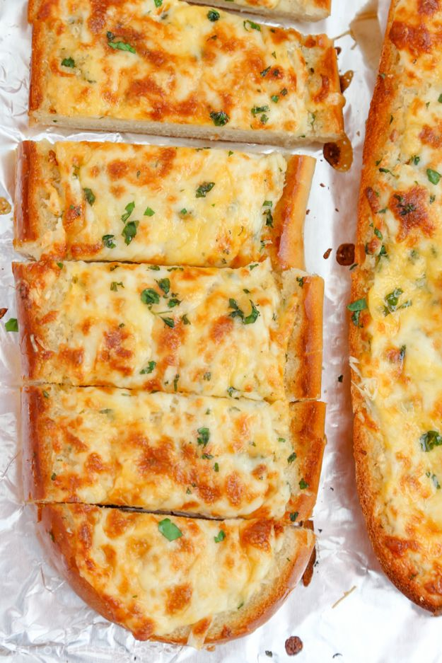 Best Recipes for the Cheese Lover - Cheesy Garlic Bread - Easy Recipe Ideas With Cheese - Homemade Appetizers, Dips, Dinners, Snacks, Pasta Dishes, Healthy Lunches and Soups Made With Your Favorite Cheeses - Ricotta, Cheddar, Swiss, Parmesan, Goat Chevre, Mozzarella and Feta Ideas - Grilled, Healthy, Vegan and Vegetarian #cheeserecipes #recipes #recipeideas #cheese #cheeserecipe http://diyjoy.com/best-recipes-cheese-lover