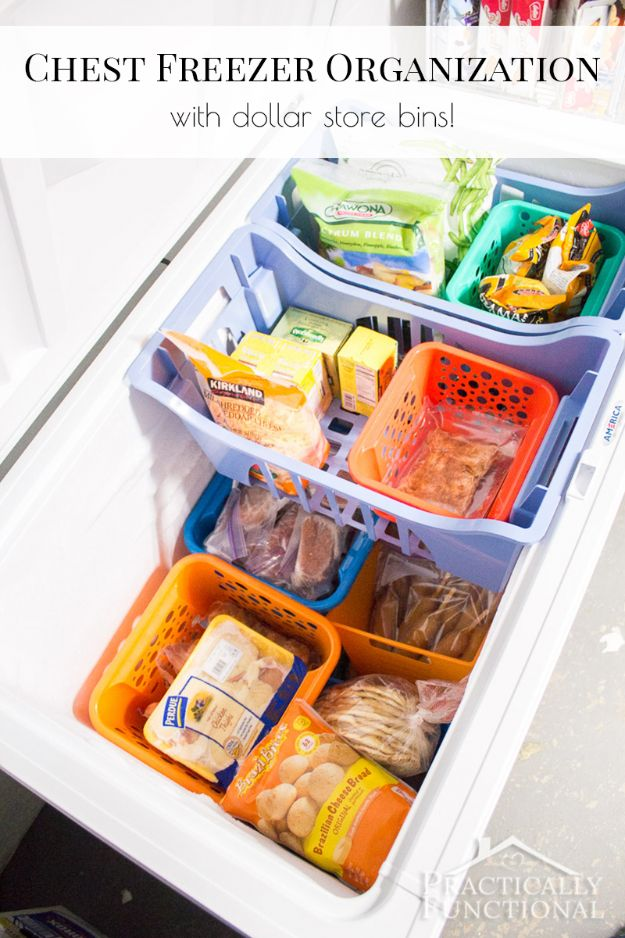 Dollar Store Organizing Ideas - Chest Freezer Organization With Dollar Store Bins - Easy Organization Projects from Dollar Tree and Dollar Stores - Quick Closet Makeovers, Pantry Storage, Shoe Box Projects, Tension Rods, Car and Household Cleaning - Hacks and Tips for Organizing on a Budget - Cheap Idea for Reducing Clutter around the House, in the Kitchen and Bedroom http://diyjoy.com/dollar-store-organizing-ideas