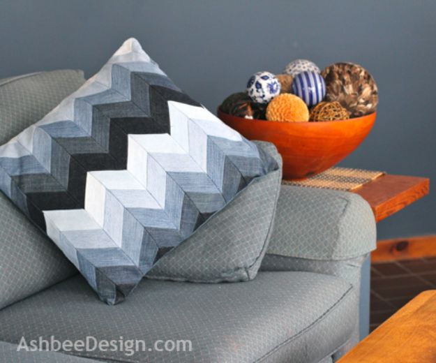 Blue Jean Upcycles - Chevron Pillow from Beloved Old Jeans - Ways to Make Old Denim Jeans Into DIY Home Decor, Handmade Gifts and Creative Fashion - Transform Old Blue Jeans into Pillows, Rugs, Kitchen and Living Room Decor, Easy Sewing Projects for Beginners #sewing #diy #crafts #upcycle