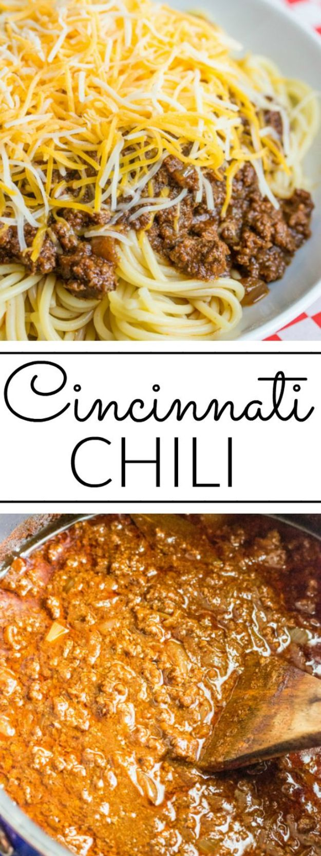 Best Recipes With Ground Beef - Cincinnati Chili - Easy Dinners and Ground Beef Recipe Ideas - Quick Lunch Salads, Casseroles, Tacos, One Skillet Meals - Healthy Crockpot Foods With Hamburger Meat - Mexican Casserole, Instant Pot Carne Molida, Low Carb and Keto Diet - Rice, Pasta, Potatoes and Crescent Rolls #groundbeef #beefrecipes #beedrecipe #dinnerideas #dinnerrecipes http://diyjoy.com/best-recipes-ground-beef