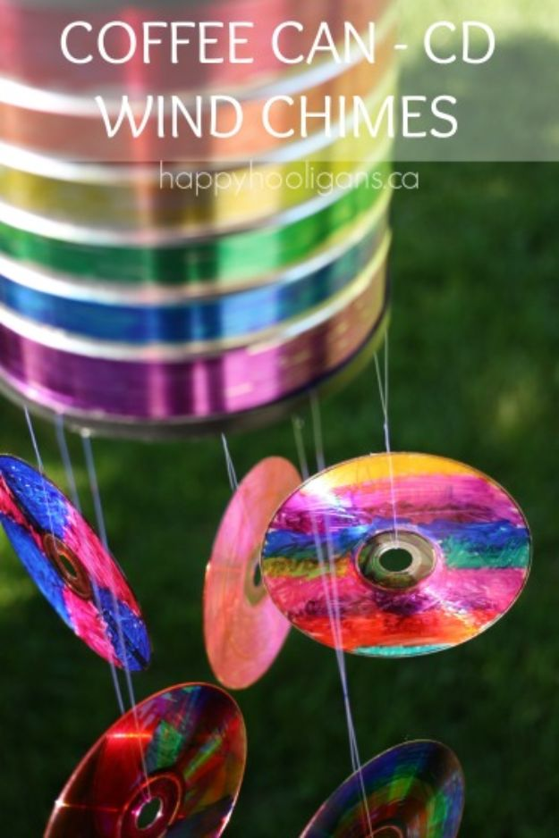 DIY Ideas With Old CD - Coffee Can CD Wind Chime - Do It Yourself Crafts and Projects Using Old Compact Discs - Recycle Jewelry, Room Decoration Mosaic, Coasters, Garden Art and DIY Home Decor Using Broken DVD - Photo Album, Wall Art and Mirror - Cute and Easy DIY Gifts for Birthday and Christmas Holidays