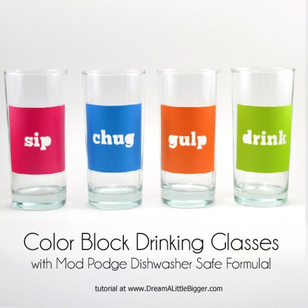 DIY Glassware - Color Block Drinking Glasses - Cool Bar and Drink Glasses You Can Make and Decorate for Creative and Unique Serving Glass Ideas - Mugs, Cups, Decanters, Pitchers and Glass Ware Projects - Paint, Etch, Etching Tutorials, Dotted, Sharpie Art and Dishwasher Safe Decorating Tips - Easy DIY Gift Ideas for Him and Her - Handmade Home Decor DIY