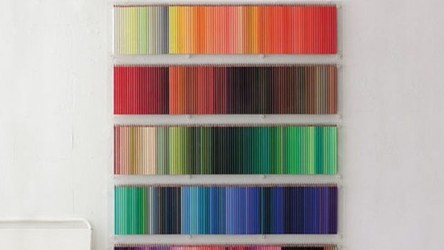 Craft Room Organization Ideas - Colored Pencil Wall Display - DIY Dollar Store Projects for Crafts - Budget Ways to Declutter While Organizing Supplies - Shelves, IKEA Hacks, Small Space Ideas