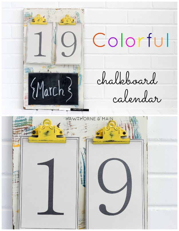 DIY Calendars - Colorful Chalkboard Calendar - Homemade Calender Ideas That Make Great Cheap Gifts for Christmas - Desk, Wall and Glass Dry Erase Organizing Calendar Projects With Step by Step Tutorials - Paint, Stamp, Magnetic, Family Planner and Organizer #diycalendar #diyideas #crafts #calendars #organizing #diygifts http://diyjoy.com/diy-calendars